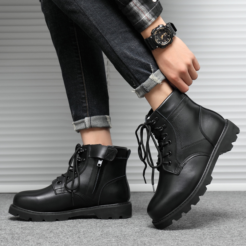 Military fan Boots Mens winter army hook cotton shoes wool short boots leather steel head steel soles outdoor Martin boots large