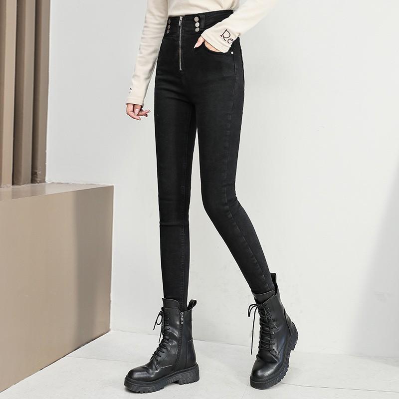 前拉链高腰加绒小脚牛仔裤  #  S-XL(85-130斤)