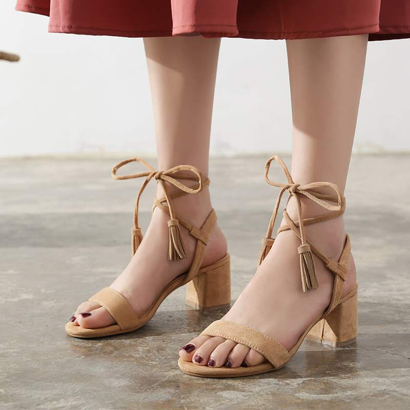 Korean version new one line thick heel sandals cross ankle strap high heel shoes tassel Black Suede Brown womens shoes