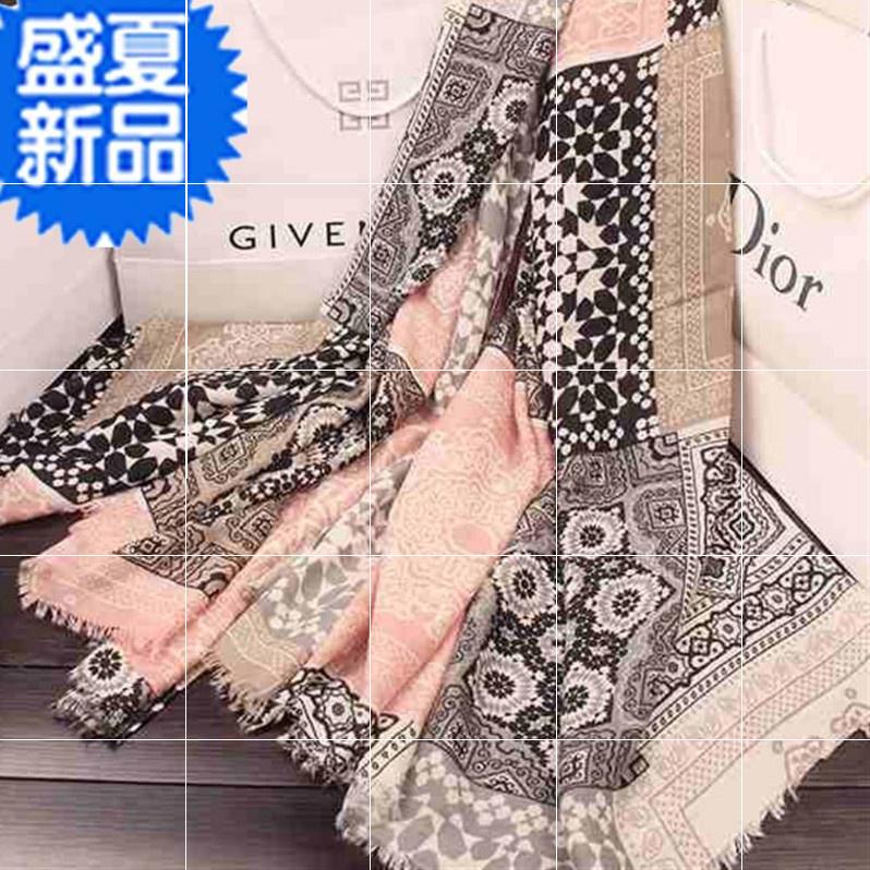 Summer Scarf womens spring and autumn thin style spring 22 season silk scarf sunscreen shawl beach towel shawl national style hundred