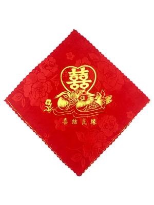 老式喜帕婚礼手帕小方巾婚礼结婚套装大号正方形装饰薄款创意大红