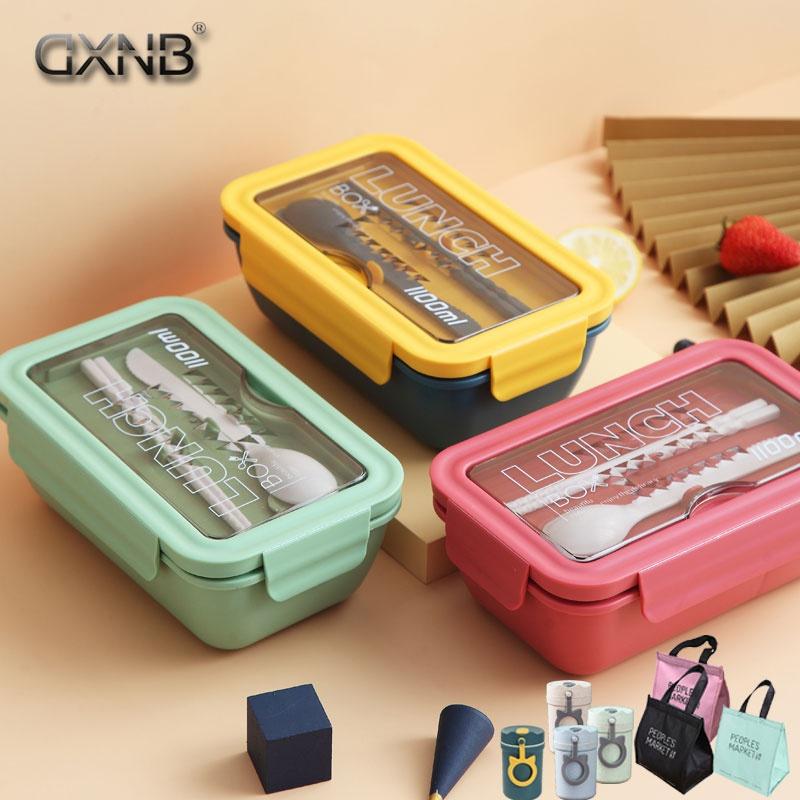 日式保温饭盒学生女ins微波炉便当盒分格带餐具上班族成人午餐。