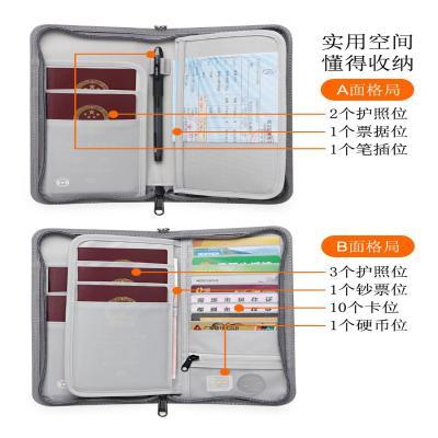 Anti theft brush simple passport clip travel storage multi card certificate wallet air ticket multi-function portable zipper certificate bag