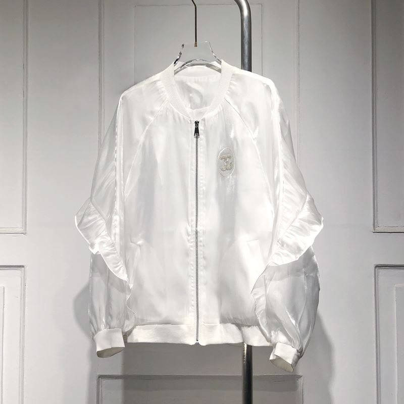 Fashionable Jacket Womens spring and summer new glossy silky versatile Ruffle jacket age reducing loose sunscreen top