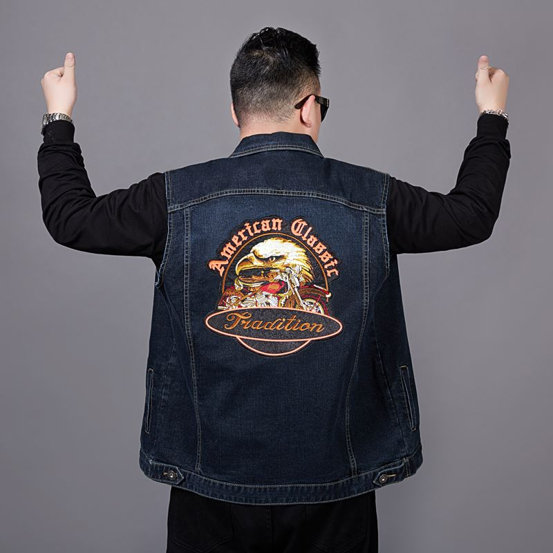 Oversized mens fat denim vest with extra fat and stretch sleeveless top loose waistcoat Motorcycle Jacket