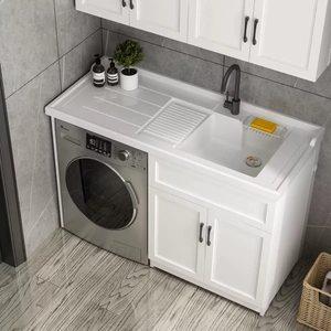 整体洗脸盆防水收纳柜水盆大理石连体洗衣机柜组合定制带搓板台盆