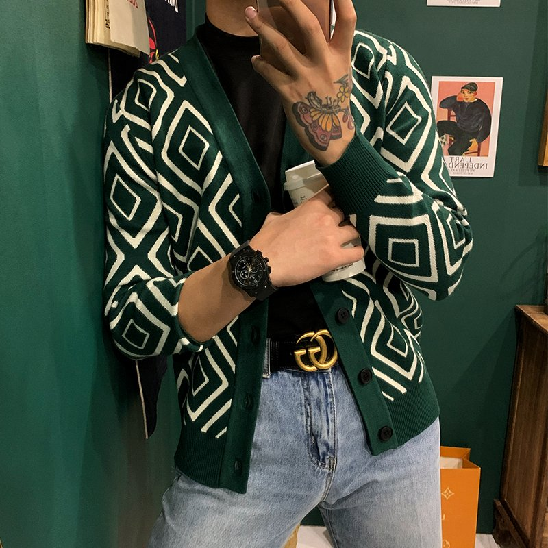 European and American autumn and winter classic retro geometric pattern V-neck knitted cardigan Korean mens slim sweater small coat fashion