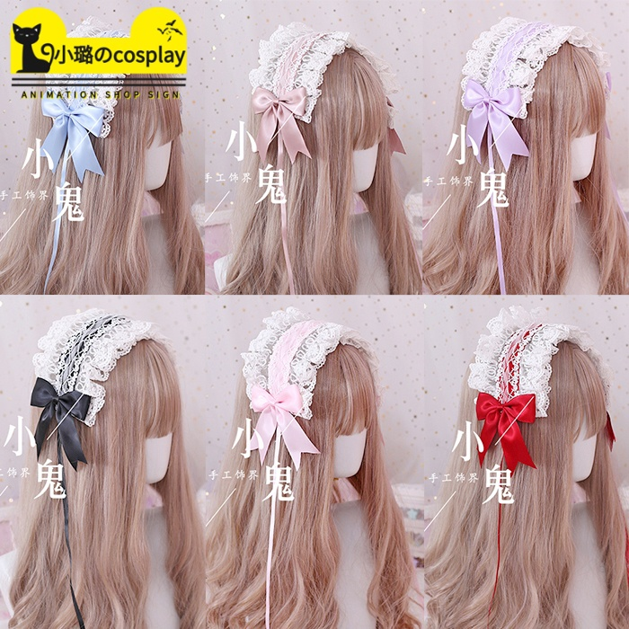 Lo Niangs hair hoop flower married to the God of love s angel handle Lo Niangs versatile lace KC hair band bow Lolita head ornament