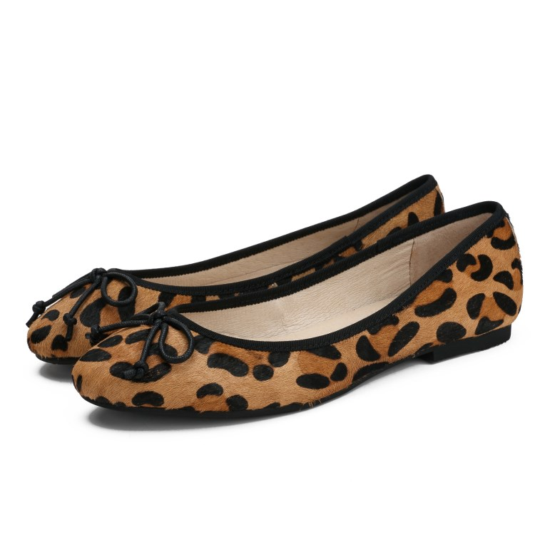 Fashion wool ballet Malaysia foreign trade flat bottom single shoes comfortable womens toe leopard print round light bow