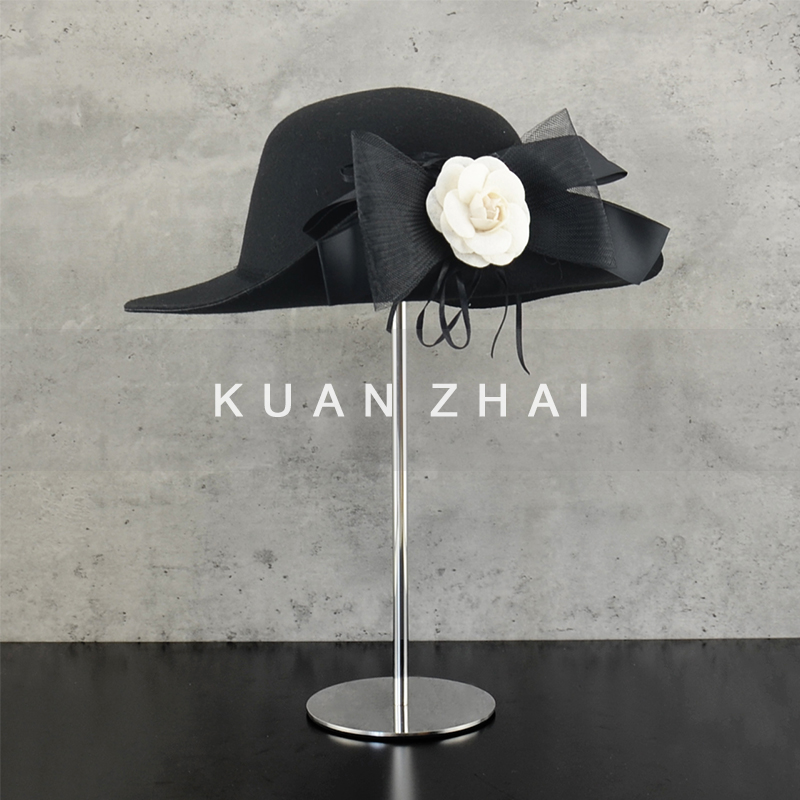 4 black and white xiaoxiangshan Camellia bow tweed hat model room cloakroom wardrobe soft decoration