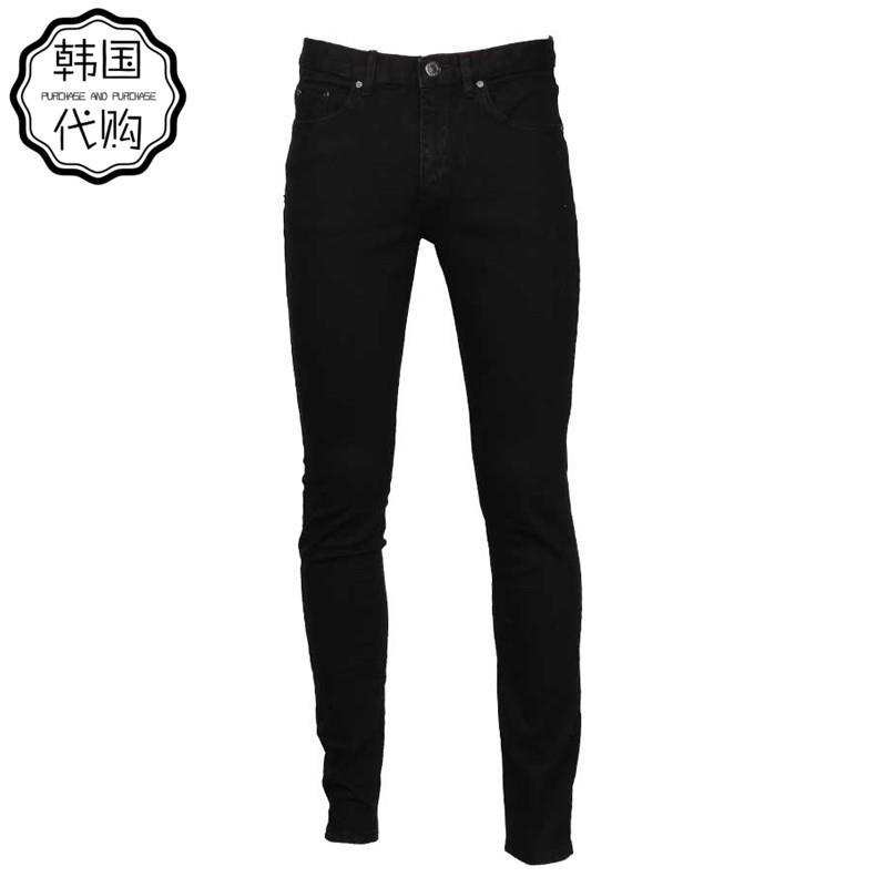 Korean mens black leg long jeans mens pencil leisure high elastic low waist no iron autumn and winter New Youth