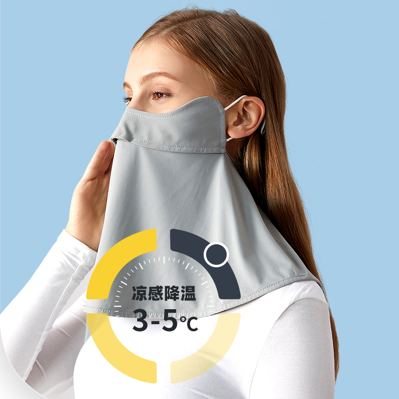 Neck protection sunscreen mask womens whole face anti ultraviolet summer thin ice breathable driving corner protection mask veil