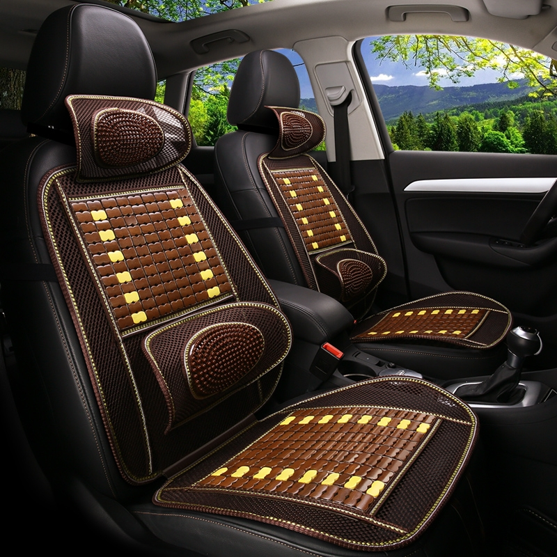 New summer bamboo flake wooden bead car cushion single piece ventilated seat cushion set GM driver and co driver