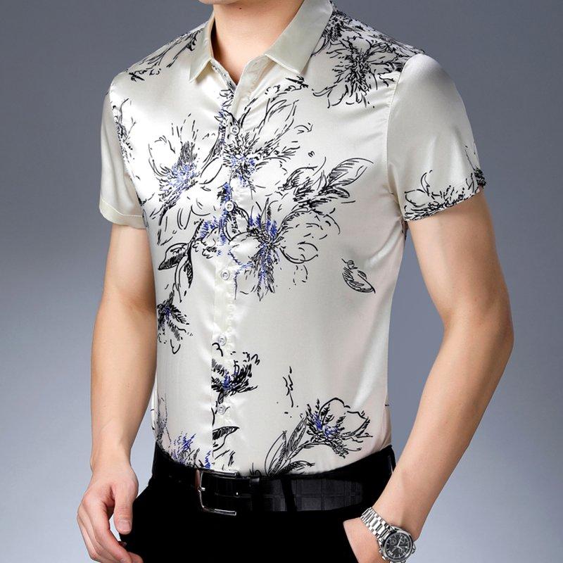 Light yellow mens printed Satin mens Short Sleeve Shirt ice silk shirt loose summer dads top fashion