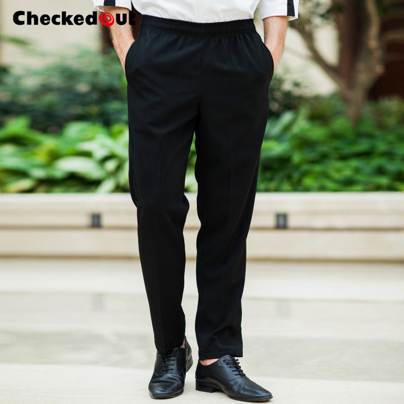 Top grade Chef Pants back kitchen restaurant waiter work pants hotel uniform pants kitchen Elastic Black Chef