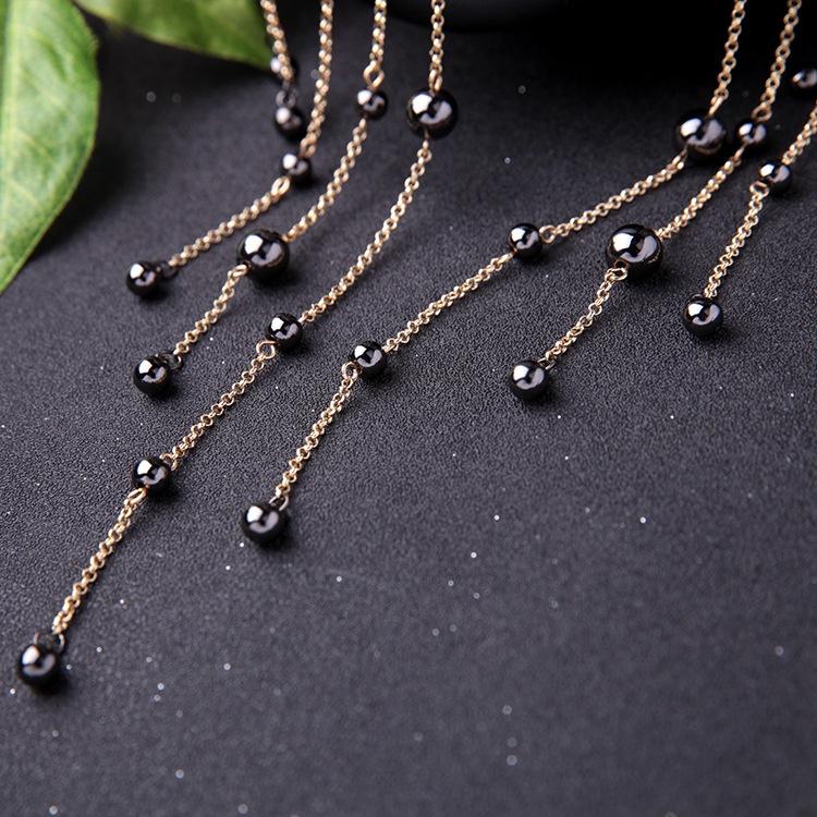 身体链胸链女欧美时尚潮流个性颈链夸张装饰项链女黑珍珠流苏项圈