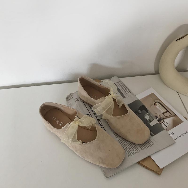 2020 shoes light dance shoes ballet women autumn Korean single shoes bean bow spring student grandmother flat shoes