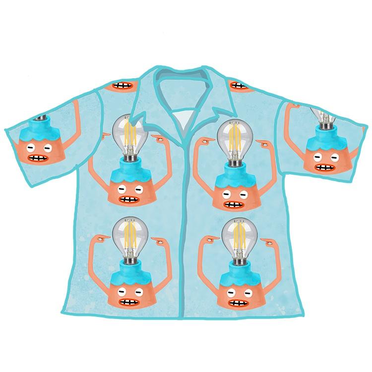 不忧郁的店自制卡通思考的台灯夏短袖宽松男女衬衫送同款帆布包