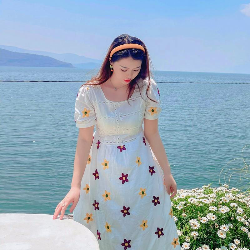 遇见胖mm夏季2021新款法式连衣裙