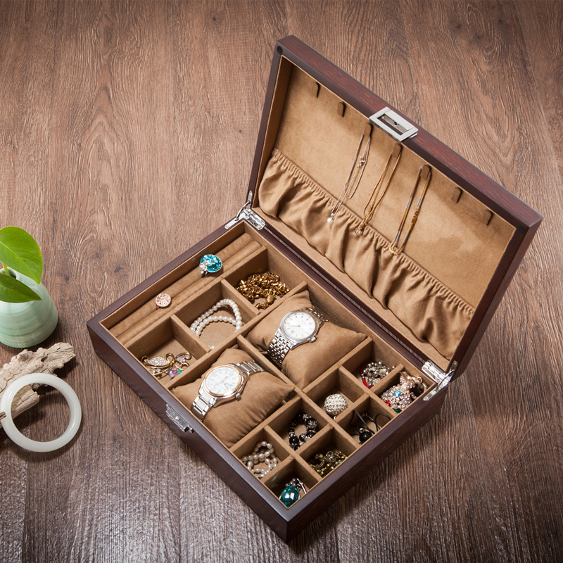 Genuine yaotao (jewelry) European lock type Fraxinus mandshurica wooden jewelry box Wooden Jewelry Bracelet Watch Storage