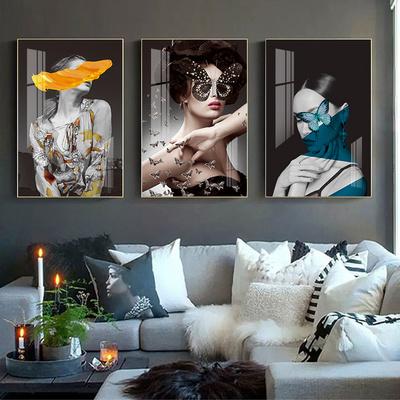 后现代画轻墙美女简约装饰人物挂大气单幅黑白画卧室画客厅奢壁画