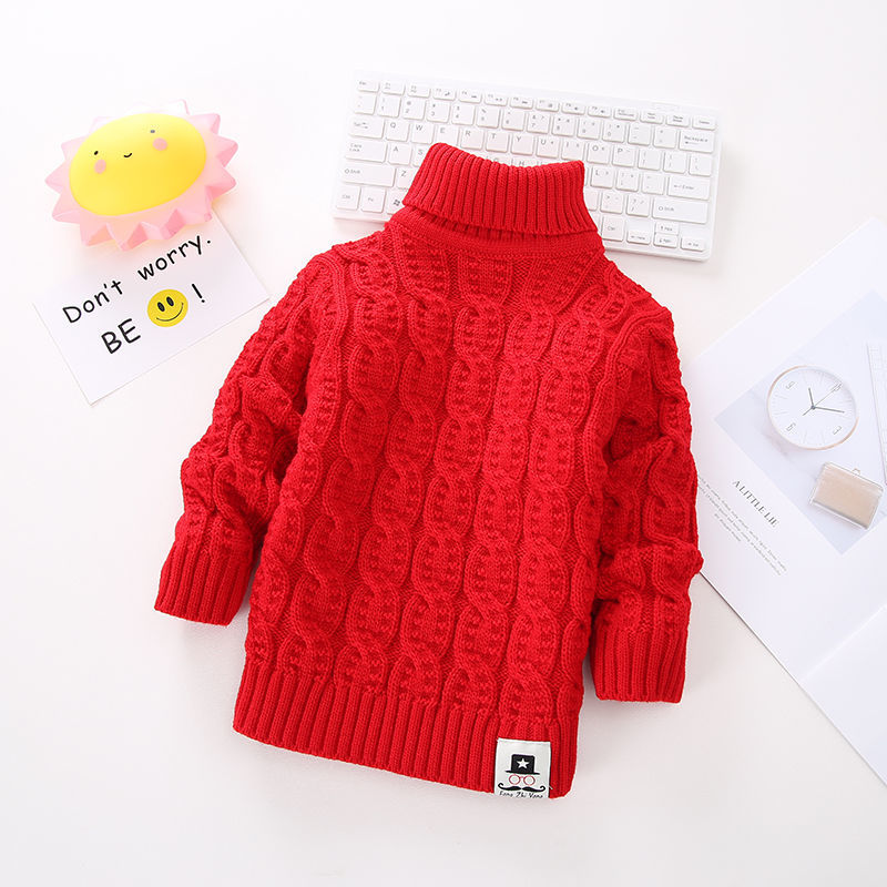 High and low T-Shirt NEW childrens thickened and medium and small cashmere Pullover knitted sweater backing solid color boys and girls autumn and winter