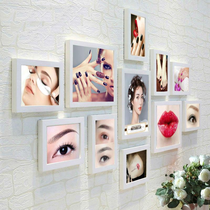 。韩式半永久海报眉眼唇美容院免打孔G装饰画相框挂画纹绣美甲照