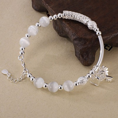 New genuine S990 pure silver womens personality fashion simple silver bracelet versatile BEADED SILVER BRACELET NEW Silver Jewelry