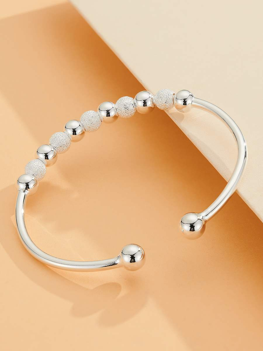 Authentic Shunqing silver building 999 full silver wholeheartedly Beaded Sterling Silver Bracelet opening simple frosted fashion girlfriend