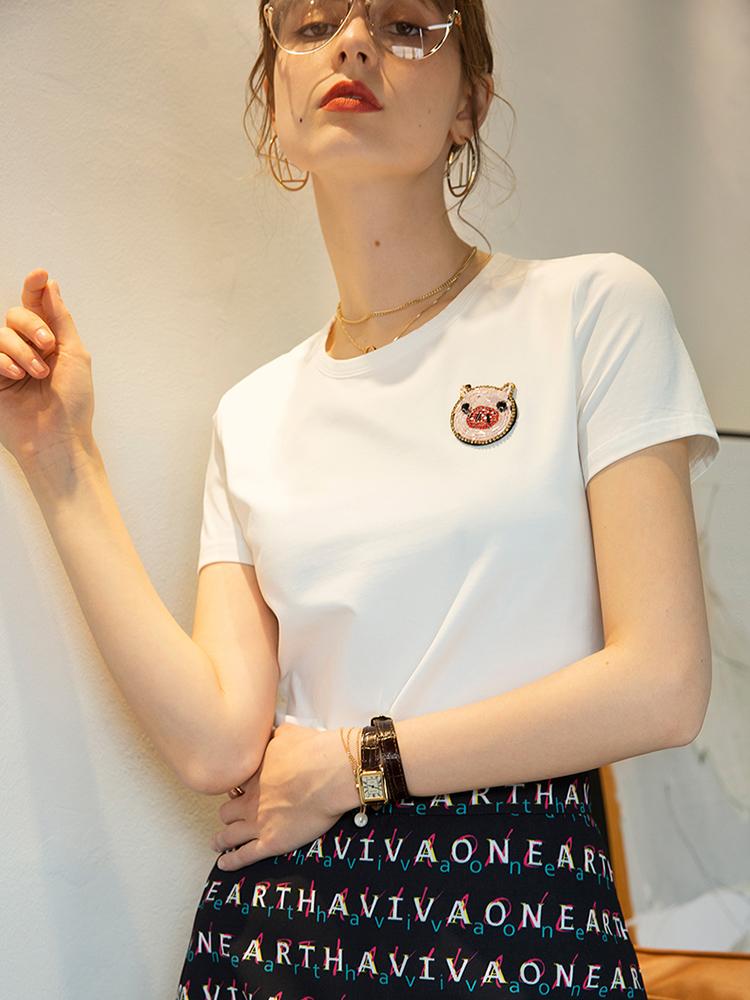 2020夏装新款小猪图案短袖T恤手工钉珠