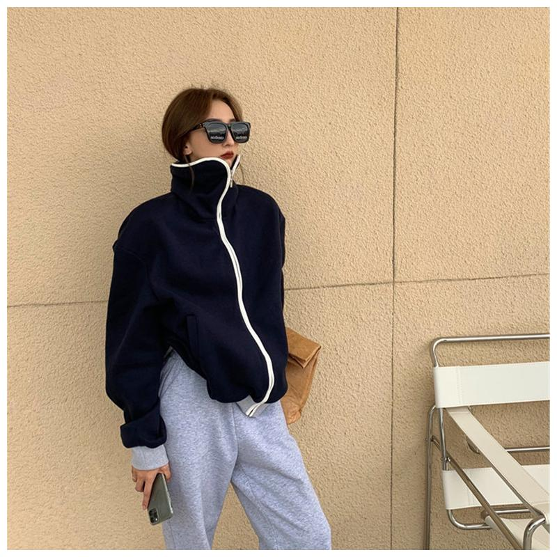 Japanese wh high collar sweater womens autumn and winter 2020 new fashion zipper sportswear cardigan with plush and thickened width