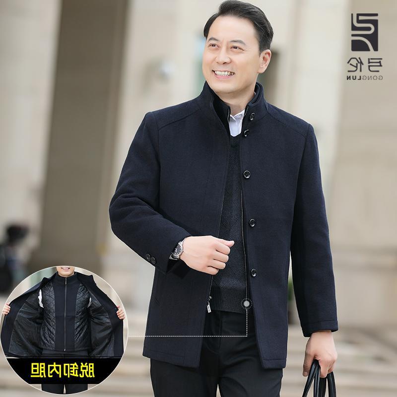 日本WH秋冬季中老年人羊毛呢子大衣中年男士夹克加厚中长款爸爸冬