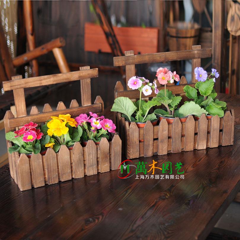 Wall hanging flowerpot, wooden flower trough, flower basket, carbonized anti-corrosion wooden flower box, hanging orchid, flower arrangement ware, balcony railing, flower rack.