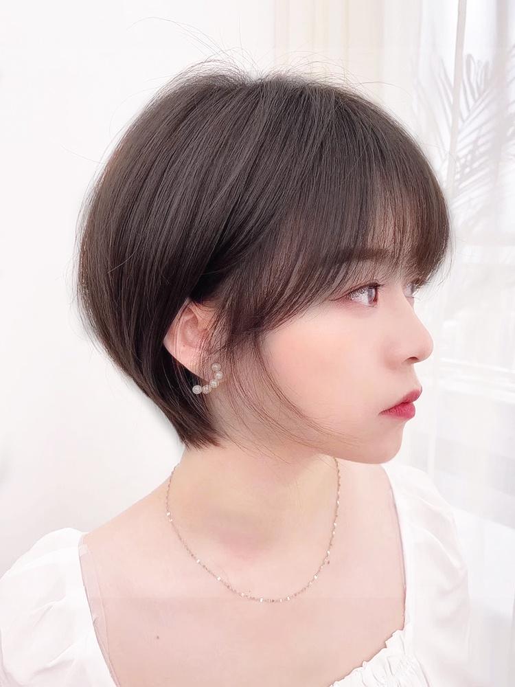 正品假发女短发全头套女真人发丝自然时尚波波头圆脸俏皮韩式短发