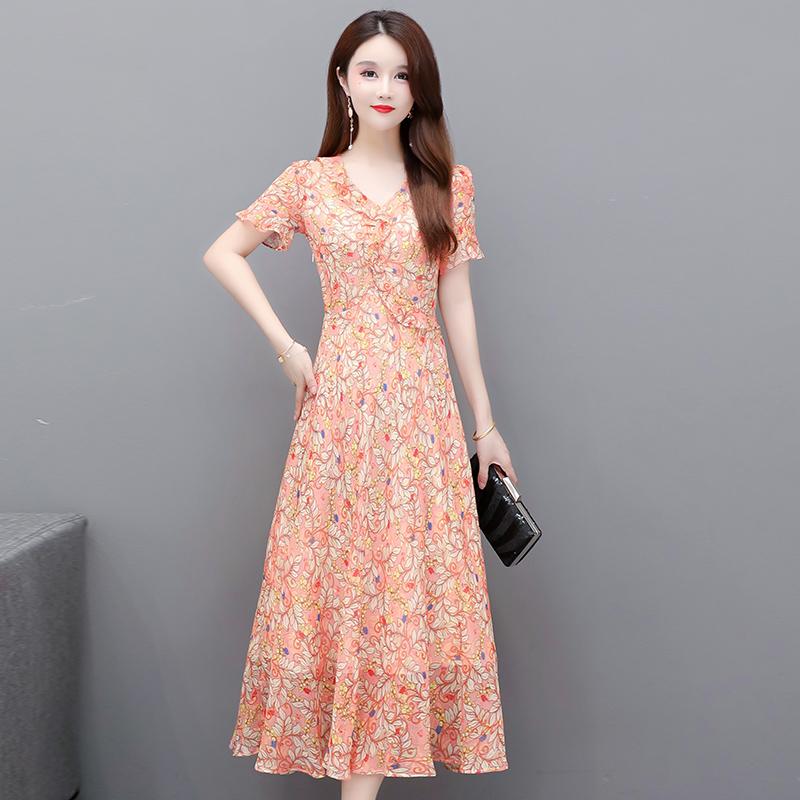 荷叶领雪纺碎花连衣裙过膝长款及踝2021夏季新款高贵优雅气质长裙
