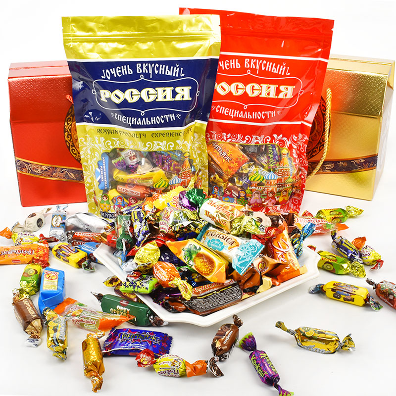 Imported Russian mixed confectionery 1 kg mixed packed multi flavor chocolate purple skin new year candy gift bag