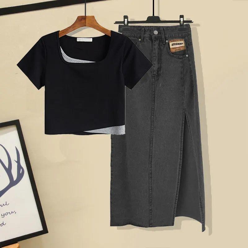 大码女装200斤胖妹妹夏季套装女假两件T恤上衣牛仔半身裙两件套潮