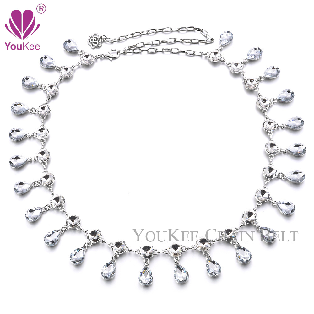 Special price mail waist chain belly dance Sailor Dance lady alloy gem face water drop drill explosion crystal waist chain.