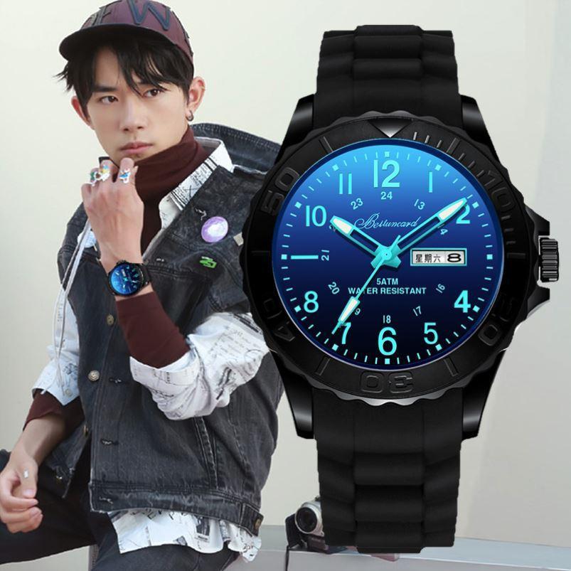 橡胶带手表男青少年中学生运动款女生时尚潮流防水百搭电子表超薄