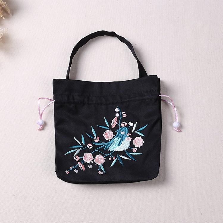 Retro style Hanfu accessories handbag drawstring womens bag portable bag bucket bag double shoulder bag Han element