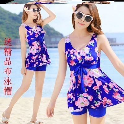 Hot spring womens skirt one-piece mother temperament one sister off shoulder womens fat swimsuit swimsuit sexy pose