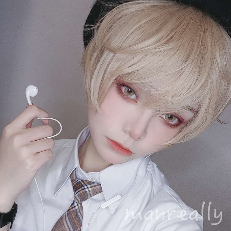 High grade Manzhen Wig Mens and womens short hair general handsome realistic natural Lolita cos universal fag hair full head