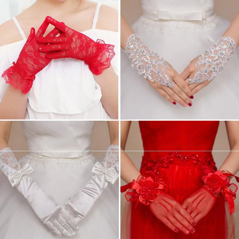 Wedding Gloves Lace super Sen bride red white wedding short long satin