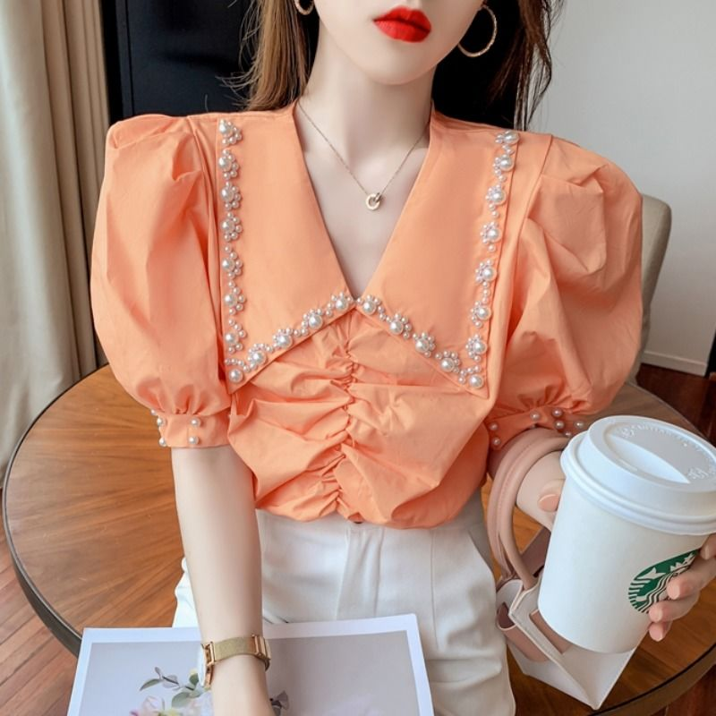 Beaded Lapel bubble sleeve shirt womens 2021 summer new design sense of foreign style pleated top French shirt fashion