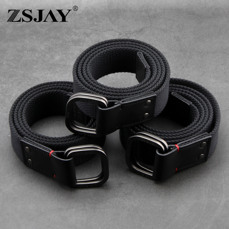 Genuine tactical bird (thickened) double ring buckle canvas belt fabric belt mens fashion young man-made jeans