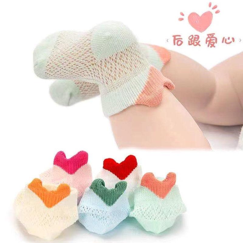宝宝袜子夏季薄款男女幼儿网眼透气松口短袜新生儿冰丝中筒袜可爱
