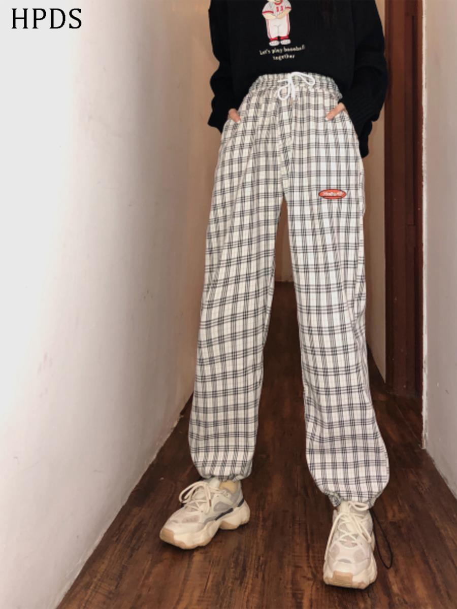 Liang mix pickles autumn and winter pants Harlan fashion letter straight tube loose binding plaid with velvet pants casual pants women