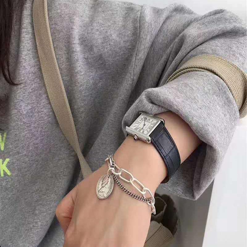 嘻哈双层手链男女学生韩版闺蜜链条复古人像简约OT扣蹦迪手环
