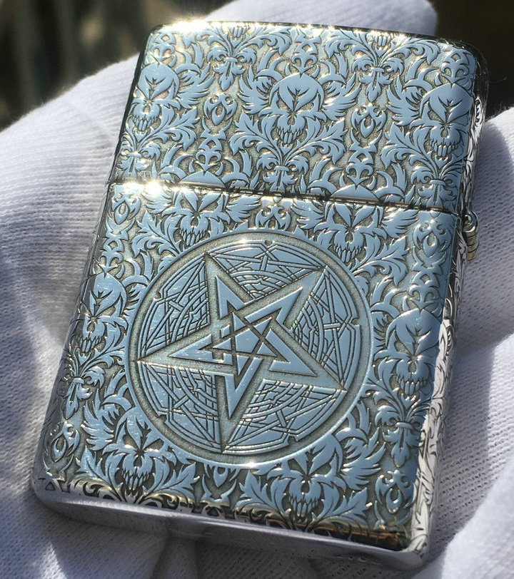High grade butcher Zippo Lighter armor pure copper and silver surrounded by carved Satan hymn on five sides