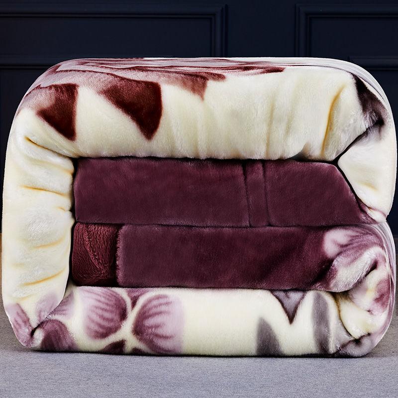 双层加厚拉舍尔毛毯春秋冬季结婚盖毯单双人学生午睡绒毯